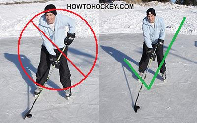 positioning lefthanded hockey player .